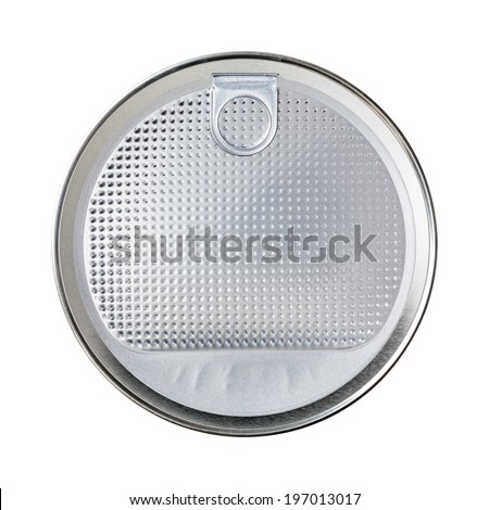 Close up aluminum foil seal for milk power can with easy peel lid - with path - stock photo