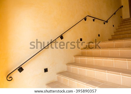 Close up and details of railing and stairs of a modern building  - stock photo