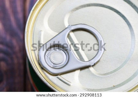 Close - up at metal ring pull on tin food can - stock photo