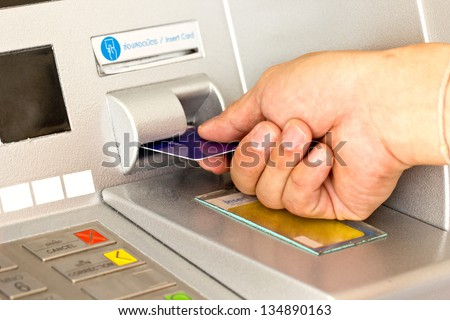 Close up ATM for withdraw your money - stock photo