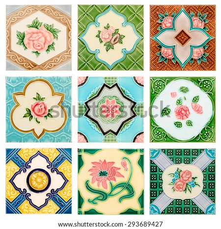 close up background and texture of vintage style old tile decorative surface flower - stock photo