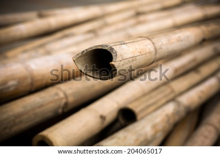 Close up background of dry thick bamboo poles with vignette - stock photo