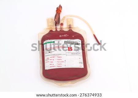 Close up bag of blood and plasma  group B and rubber tube isolated on white background - stock photo