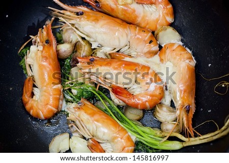 Close up baked Salted Prawns - stock photo