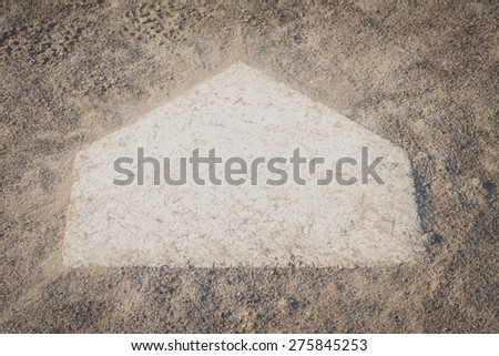 close - up Baseball home plate from baseball field   - stock photo