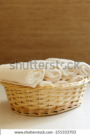 close-up basket of pure white towels - stock photo