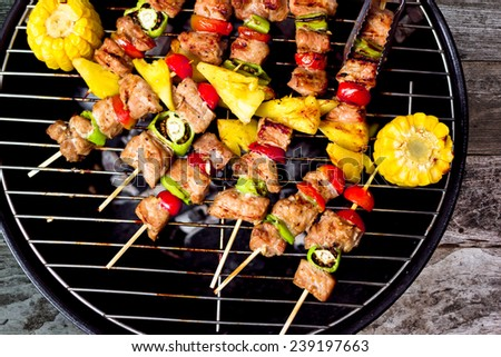 Close up bbq and corncob on a grilling pan, View top  - stock photo