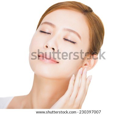 close up Beautiful  young asian woman face - stock photo