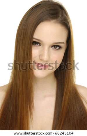 Close up beautiful young woman with luxuriant healthy long hair - stock photo
