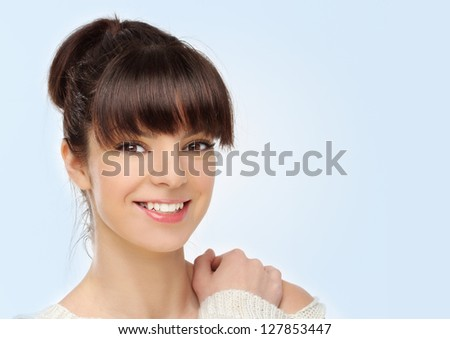 Close-up, beauty shot of a smiling, young, beautiful, brunette woman - stock photo