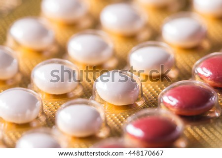 Close up birth control pill  (selective focus) - stock photo