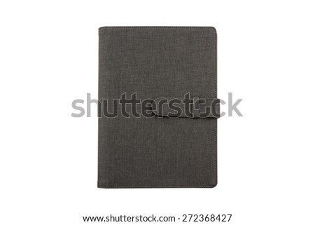 Close up Black leather case isolated on white background. - stock photo