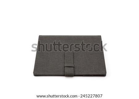 Close up Black leather case on white background. - stock photo