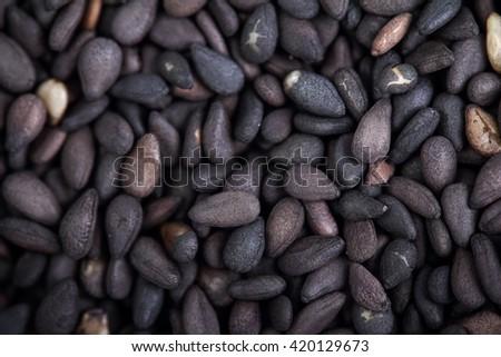 close-up black sesame seeds - stock photo
