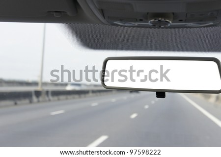 Close up Blank Car mirror . - stock photo