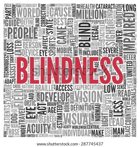 Close up BLINDNESS Text at the Center of Word Tag Cloud on White Background. - stock photo