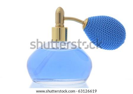 close-up blue bottle of perfume isolated on white - stock photo