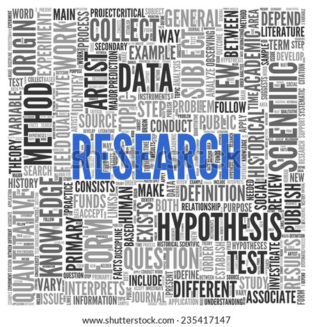 Close up Blue RESEARCH Text at the Center of Word Tag Cloud on White Background. - stock photo