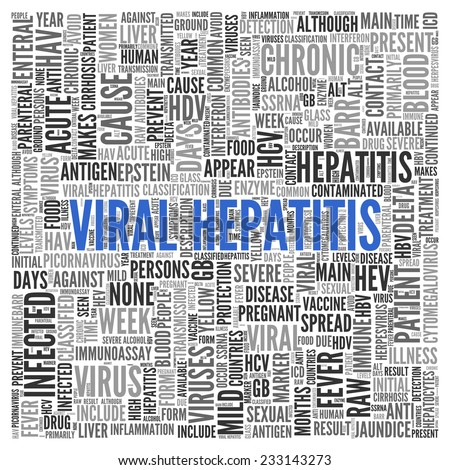 Close up Blue VIRAL HEPATITIS Text at the Center of Word Tag Cloud on White Background. - stock photo
