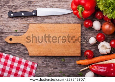 Close up board cooking wood more vegetable ingredient  - stock photo