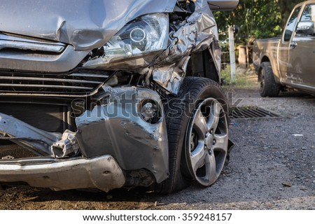 Close up body of car get damaged by accident - stock photo