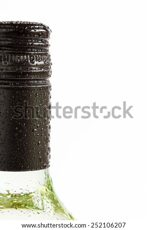 Close up bottle of chilled white wine  - stock photo