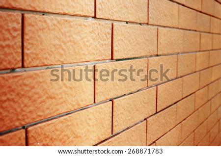 Close Up Brick Wall, Perspective - stock photo