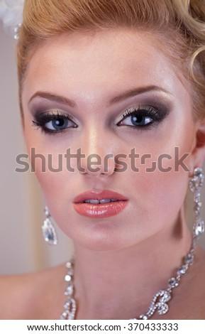 Close up bride portrait, studio shot - stock photo