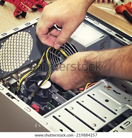close up Build a PC builder - stock photo