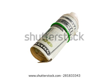 Close up Bunch of 20 US Dollar Paper Bill Rolled with Rubber, Isolated on White Background. - stock photo