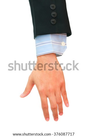 Close up business man hand on white background. - stock photo