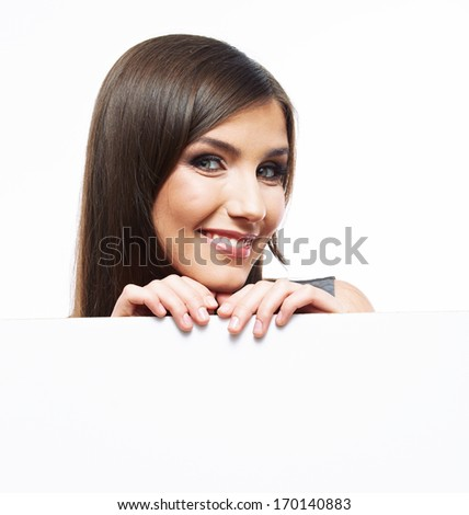 Close up business woman portrait. White background female portrait. Smiling girl hold white blank card. - stock photo
