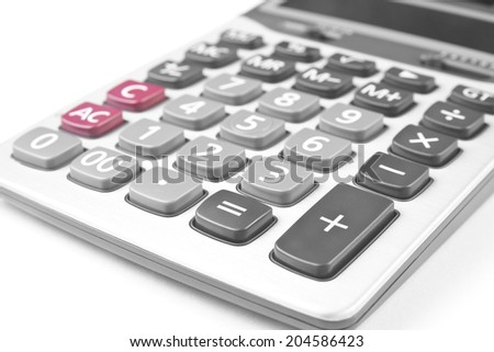 close up calculator on white - stock photo