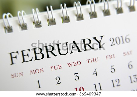 Close up calendar of February 2016 - stock photo