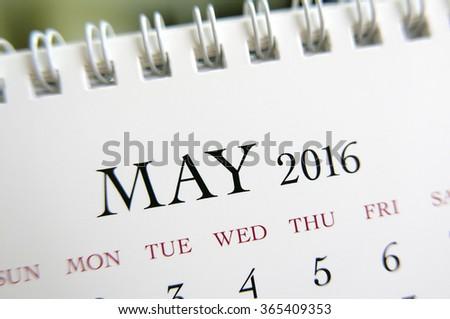 Close up calendar of May 2016 - stock photo