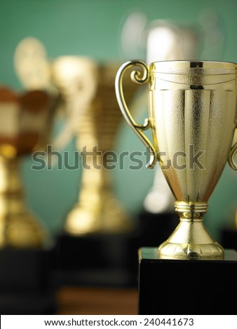 Close up champion golden trophy  - stock photo
