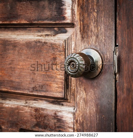 close up classic handle door vintage close up - stock photo