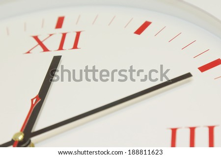 close up classic office wall clock - stock photo