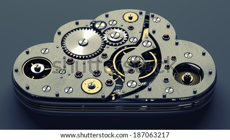 Close up cloud with gears. technology abstract background. High resolution 3d  - stock photo