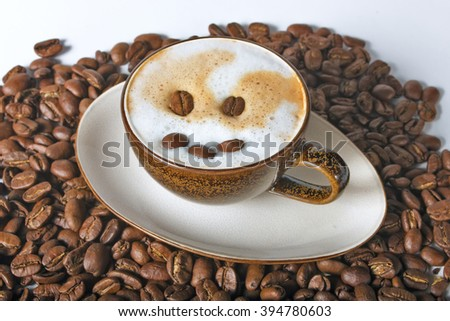 Close up coffee cup and beans on a white background. Smile in coffee. Beans coffee around cup. Coffee background. Coffee on table. Morning coffee. Marvelous coffee. Latte coffee. Coffee with milk. - stock photo
