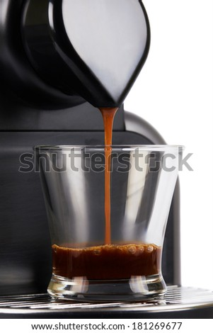 Close up coffee maker, brew a cup of espresso. White background. - stock photo