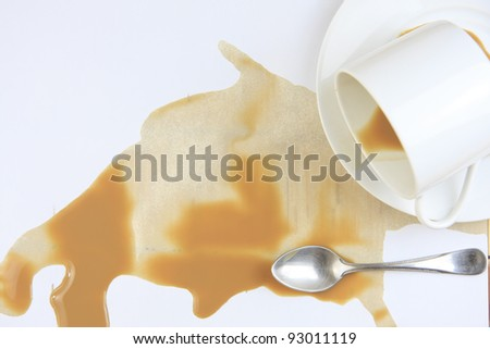 close up coffee stains on white background - stock photo