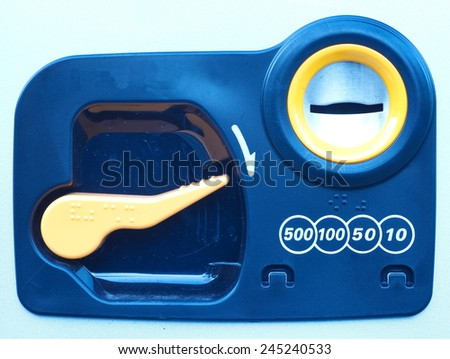 Close - up Coin insert space for vending Machine  - stock photo