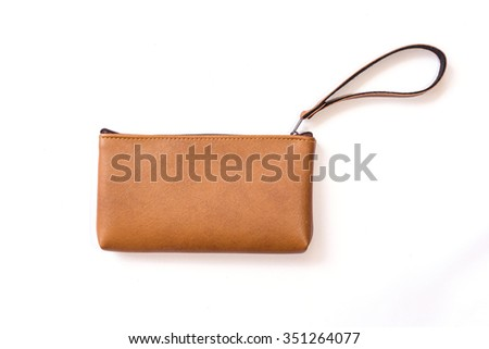 Close up color womens leather  purse isolated on white background - stock photo