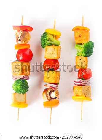 Close up Colorful Tasty Cooked Kebab Tofu Food Isolated on White Background - stock photo