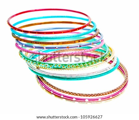 Close-up colorful wrist bands isolated on white background - stock photo