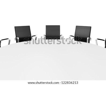 Close up conference round table and black office chairs in meeting room, isolated on white background. - stock photo