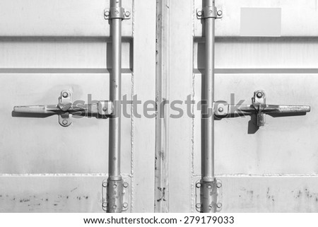 Close - up  container shipping door at dockyard - stock photo