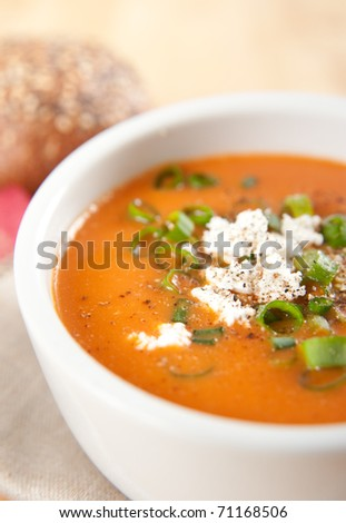 Close Up Creamy Bell Pepper and Tomato  Soup Garnished with Goat Cheese, Green Onion and Pepper - stock photo