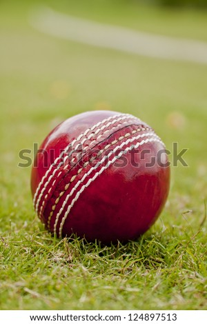 Close up Cricket ball on field with copy space - stock photo